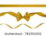 set of three luxury golden silk ... | Shutterstock . vector #781501042