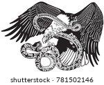 eagle battling a snake serpent. ... | Shutterstock .eps vector #781502146