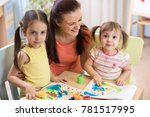 mother and kids are painting... | Shutterstock . vector #781517995