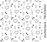 hearts seamless pattern. hand... | Shutterstock . vector #781526362