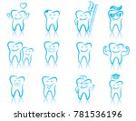 set of dentistry symbols ... | Shutterstock .eps vector #781536196