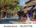 Colorful street with shops in Hoi An Vietnam