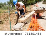 bricklayer making a new wall | Shutterstock . vector #781561456