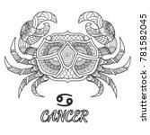 line art design of cancer... | Shutterstock .eps vector #781582045