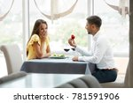 proposal in restaurant. man... | Shutterstock . vector #781591906