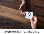 hand giving a note written... | Shutterstock . vector #781592212