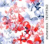 imprints delicate cherry... | Shutterstock . vector #781595362