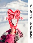 heart on snow  valentine's day... | Shutterstock . vector #781605826
