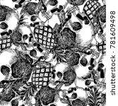 flat composition skull... | Shutterstock .eps vector #781609498