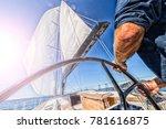 man driving sailing boat in navigation