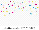 colorful heart confetti falling ...   Shutterstock .eps vector #781618372