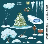 set of christmas elements. a... | Shutterstock .eps vector #781635205