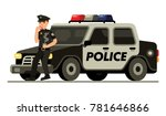 police officer with donut and... | Shutterstock .eps vector #781646866