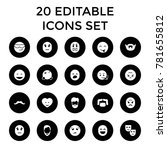 facial icons. set of 20...   Shutterstock .eps vector #781655812
