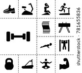 gym icons. set of 13 editable... | Shutterstock .eps vector #781655836