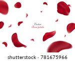 Stock vector falling red rose petals isolated on white background vector illustration with beauty roses petal 781675966