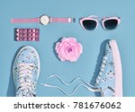 fashion. stylish spring hipster ... | Shutterstock . vector #781676062