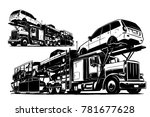 Stock vector auto transport carrier vector illustration 781677628