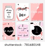set of valentines day greeting... | Shutterstock .eps vector #781680148