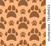 dog footprints seamless pattern ... | Shutterstock .eps vector #781684012