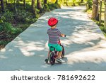 little boy on a bicycle. caught ... | Shutterstock . vector #781692622