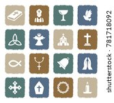 christianity icons. grunge... | Shutterstock .eps vector #781718092
