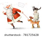Santa Claus Carries Letters On...