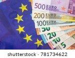 euro bills on the european flag ... | Shutterstock . vector #781734622