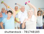 seniors doing strength building ... | Shutterstock . vector #781748185