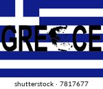 greece text with map on flag... | Shutterstock .eps vector #7817677