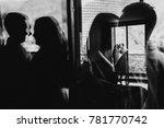 wedding couple in bathrobes in... | Shutterstock . vector #781770742