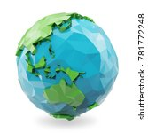 3d rendering low poly earth... | Shutterstock . vector #781772248