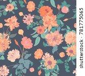 pink peony botanical seamless... | Shutterstock .eps vector #781775065