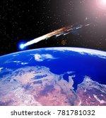 comet over the earth. meteor... | Shutterstock . vector #781781032