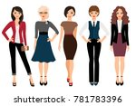cute young women in different... | Shutterstock . vector #781783396