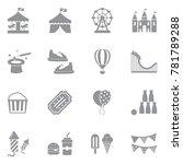 Amusement Park Icons. Gray Flat ...