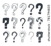 doodle question marks. hand... | Shutterstock . vector #781794835