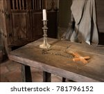ancient historic table with... | Shutterstock . vector #781796152