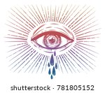 all seeing eye crying watery... | Shutterstock .eps vector #781805152
