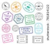 postal and visa different... | Shutterstock . vector #781814122