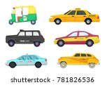 taxi cars in different cities.... | Shutterstock . vector #781826536