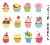 vanilla muffins and cupcakes... | Shutterstock . vector #781826578
