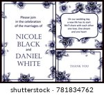 invitation with floral... | Shutterstock . vector #781834762