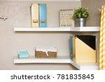 two white floating shelves... | Shutterstock . vector #781835845