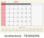 2018 calendar planner design ...   Shutterstock .eps vector #781846396