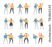 a variety of people fighting... | Shutterstock .eps vector #781863145