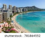 waikiki beach in hawaii | Shutterstock . vector #781864552