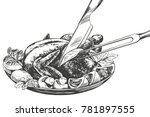 roasted turkey  chicken with... | Shutterstock .eps vector #781897555