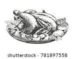 roasted turkey  chicken with... | Shutterstock .eps vector #781897558