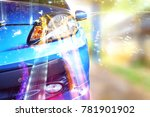view from front car with effect ... | Shutterstock . vector #781901902